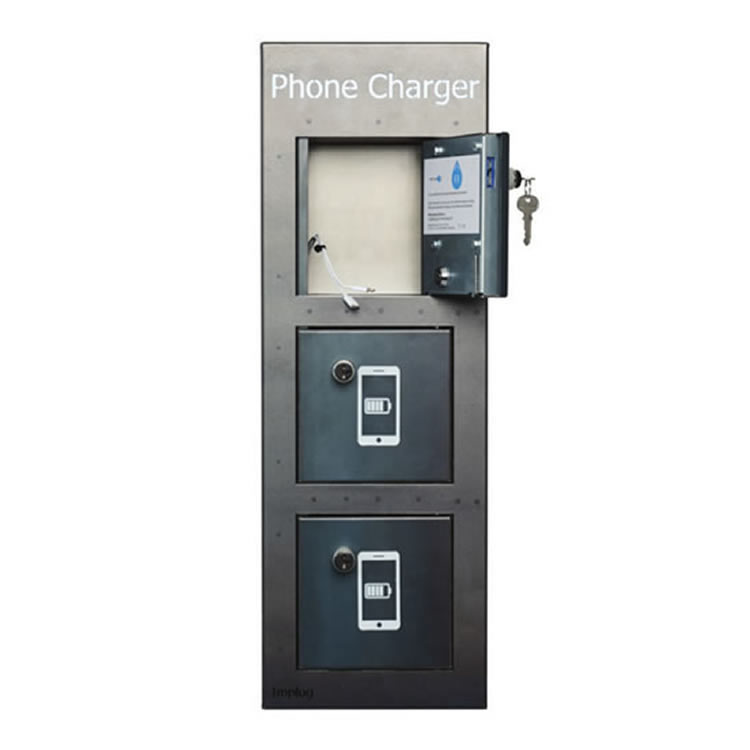 Max Charge - 3 Door Mobile phone charger with coin operated secure locker
